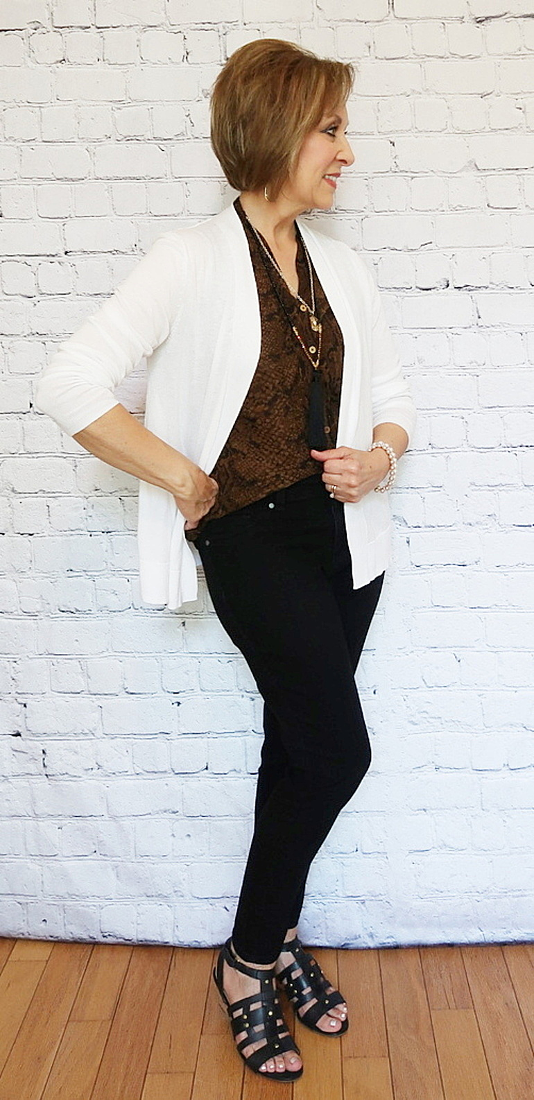 OOTD, Over 50 Fashion, Business Casual, Black and Brown with White Cardigan, 50 With Flair