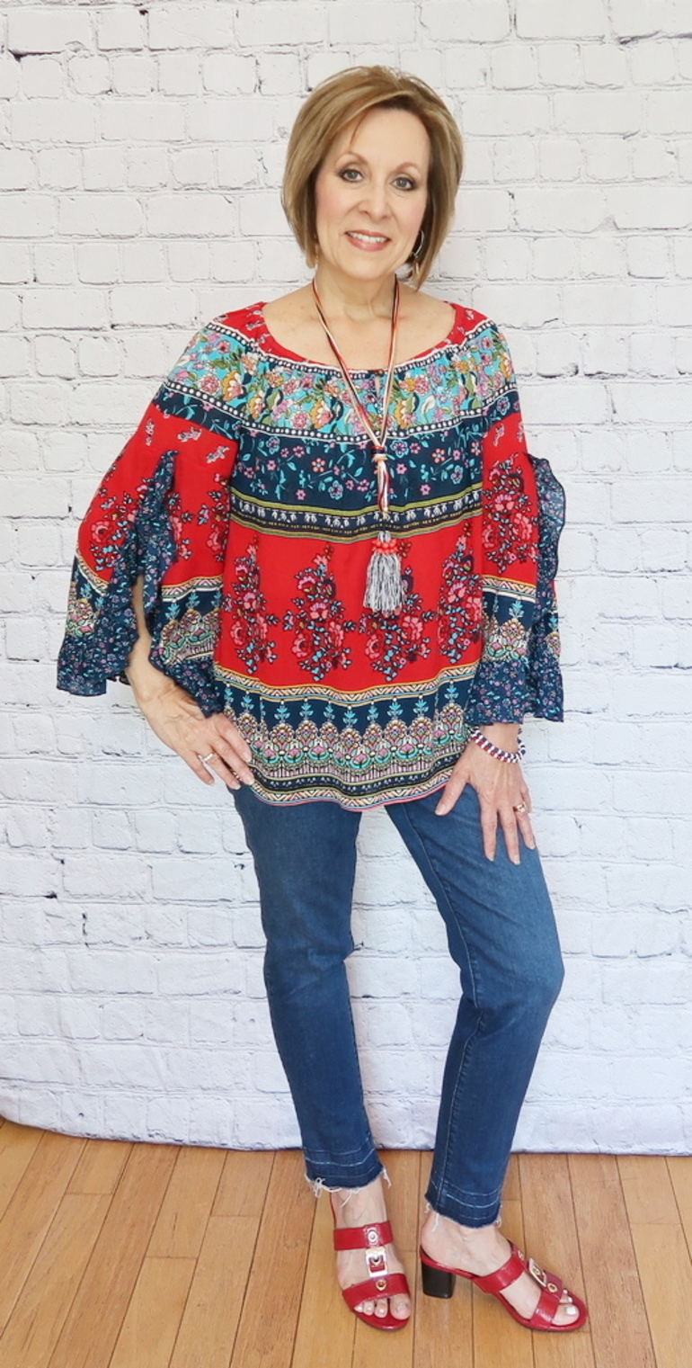 Over 50 Fashion, 50 With Flair, Red White Blue Bohemian Top, Fray Hem Jeans, Tassel Necklace, Red Sandals