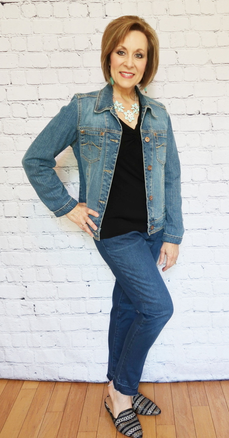 50 With Flair, Fray Hem Jeans, Black and Turquoise, Denim Combined Texture