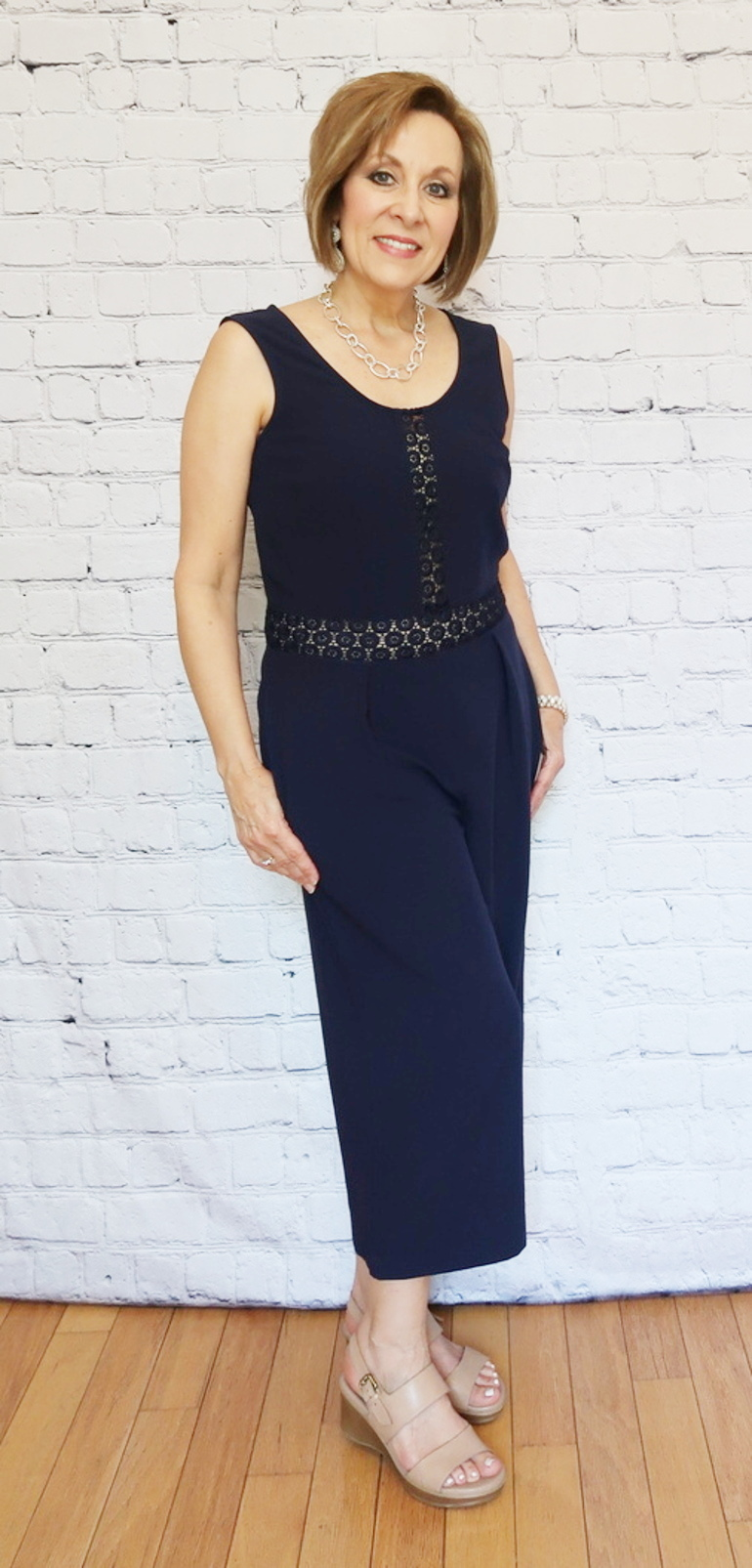 50 With Flair, Navy Blue Jumpsuit, Over 40 Fashion, Over 50 Fashion