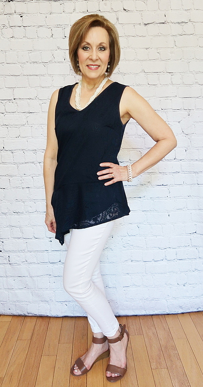 50 With Flair, Over 40 and 50 Fashion, Navy Asymetrical Lace Top, White Skinny Jeans, Wedge Sandals