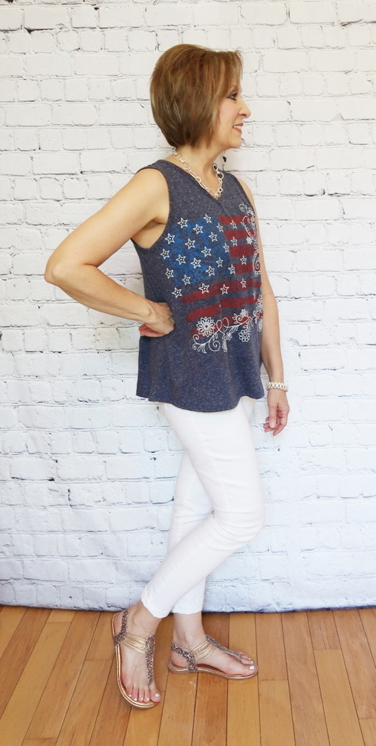 50 With Flair, Red White and Blue Patriotic Top with White Jeans and Shoe Options