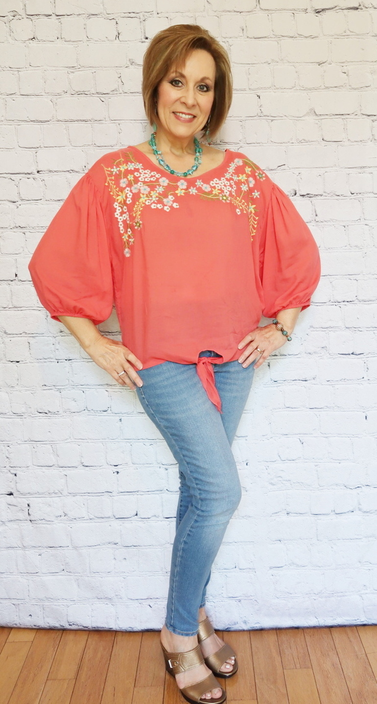 50 With Flair, Over 40 and 50 Fashion, Peach Embroidery Tie Top, Old Navy Jeans, Gold Wedge Shoes, Turquoise Jewelry