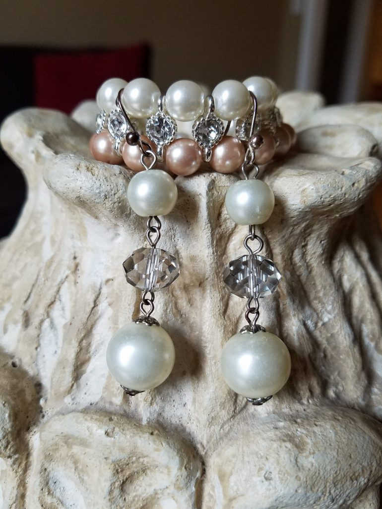 50 With Flair, Pearl Jewelry Set, Bracelet and Drop Earrings