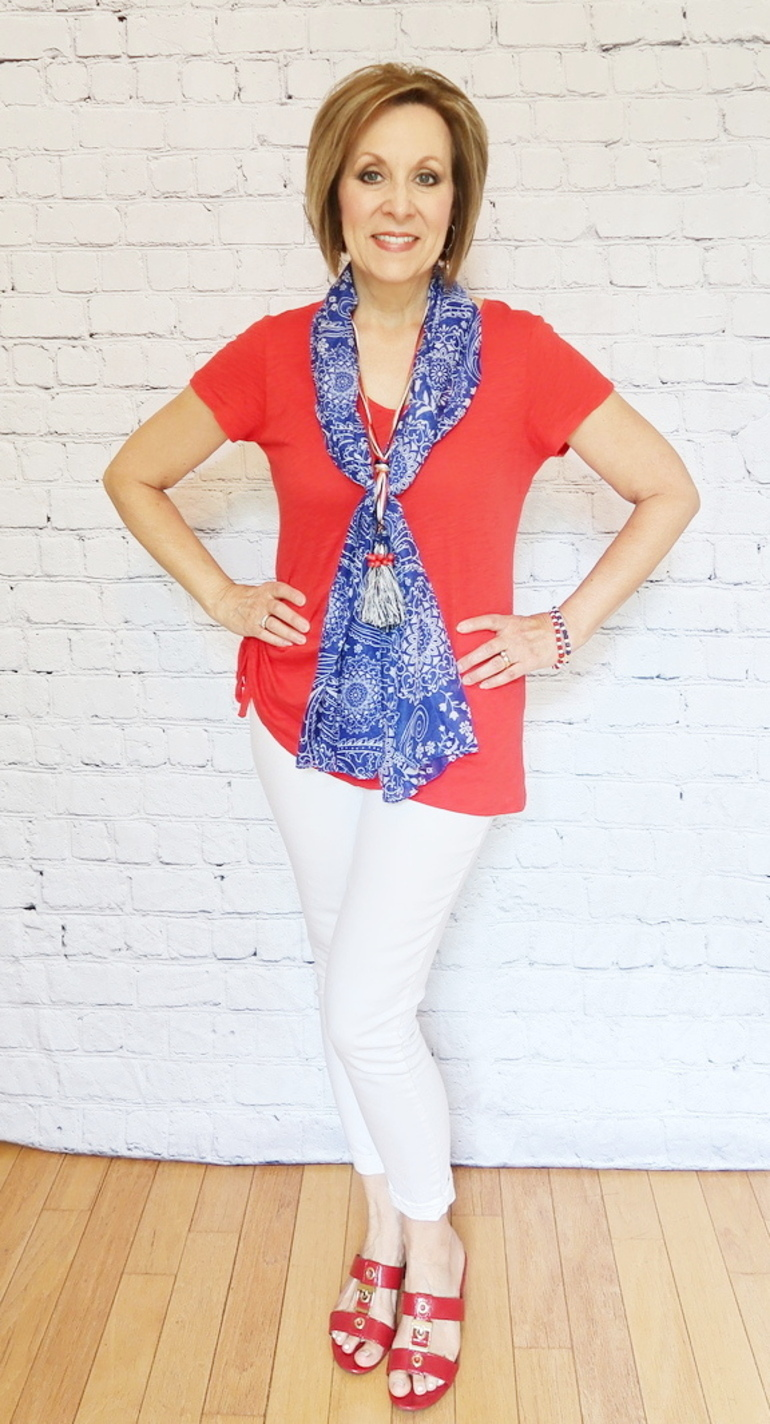 Red, White, Blue - 50 With Flair, Red White Blue, Scarf Layered with Necklace
