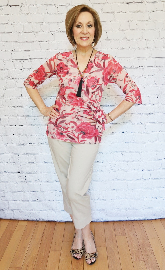 Over 40 Fashion, Over 50 Fashion, Red floral wrap blouse with khaki capris and cheetah print shoes