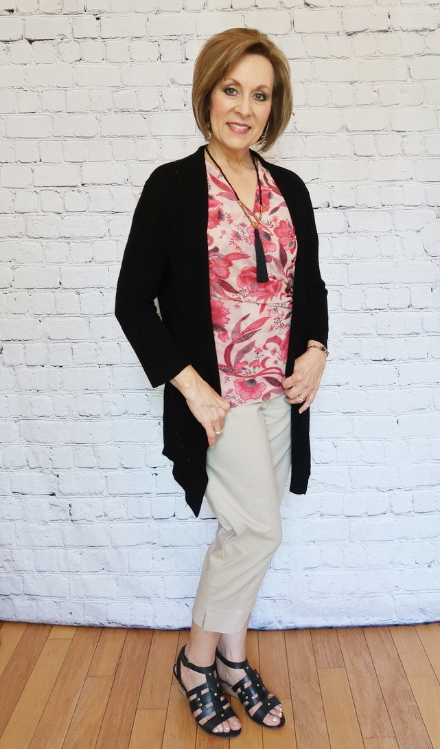 Over 40 Fashion, Over 50 Fashion, Red floral wrap blouse with khaki capris and black gladiator wedges