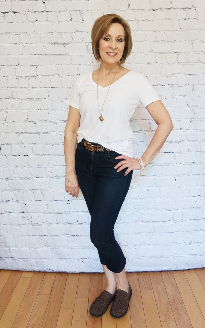 White T-shirt with cropped jeans, cheetah belt, white converse shoes, gold and peal jewelry, 50 With Flair, Over 40 Fashion