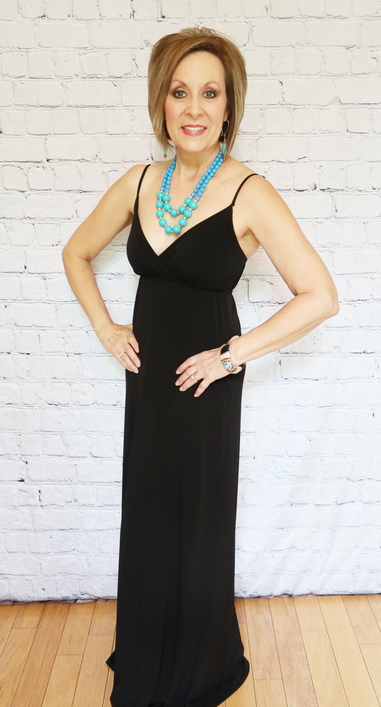 LBD, Long Black Dress, Basic Black Gown, Over 50 Fashion, 50 With Flair