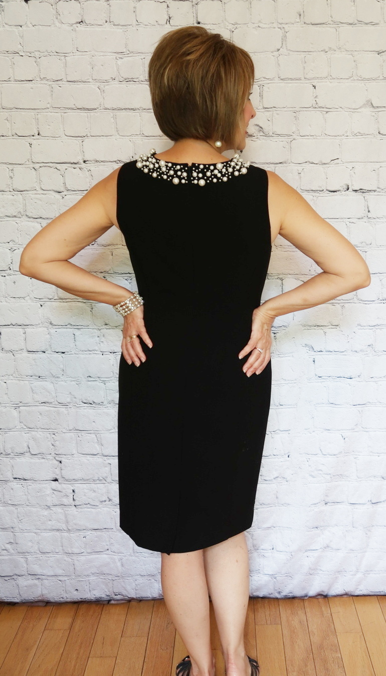 Mother-of-the-bride, black pearl dress, 50 with flair