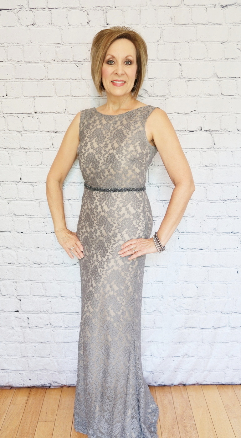 Mother-of-the-bride, gray lace gown, 50 with flair