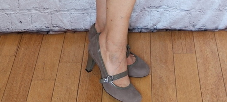 Mother-of-the-bride, gray suede mary jane pumps, 50 with flair