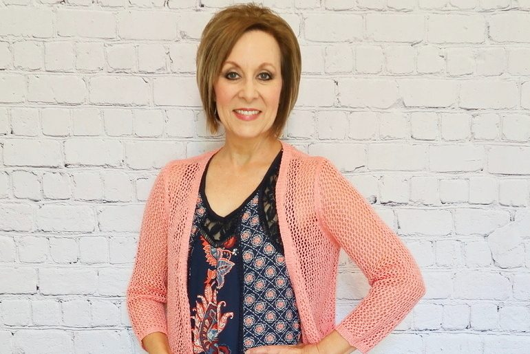 Over 50 Style, Navy Print Tank Top, Peach Cardigan