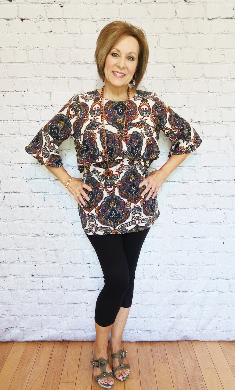 50 With Flair, Over 50 Fashion, Jules and Leopold Crepe Blouse, Paisley Blouse, Black Capri Leggings, Olive Wedge Sandals