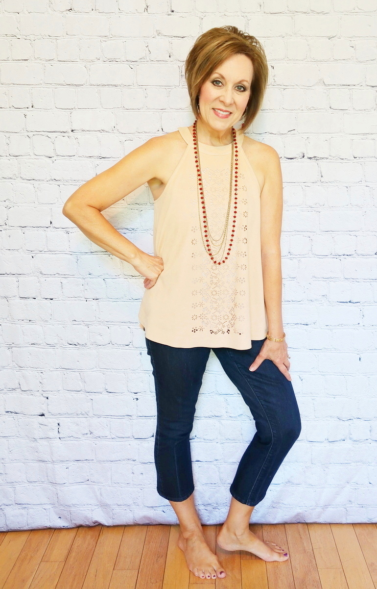 Over 50 Fashion, Faux Suede Swing Top, Ann Taylor Kick Crop Jeans, Barefoot Style, Red Beaded Necklace
