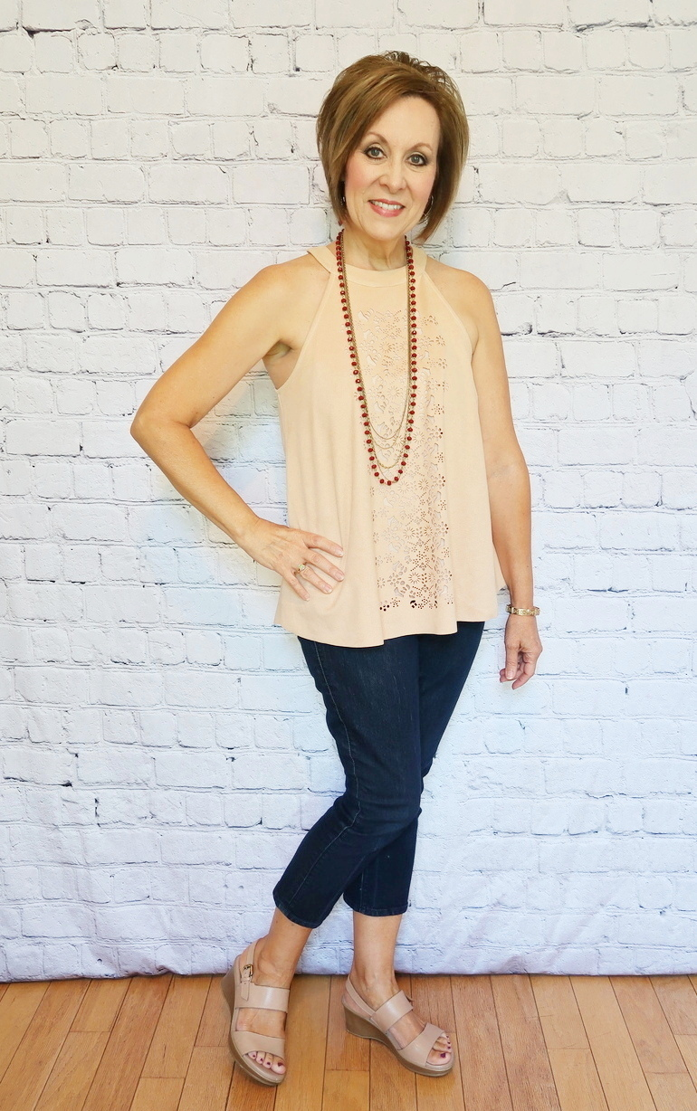 Over 50 Fashion, Faux Suede Swing Top, Ann Taylor Kick Crop Jeans, Naturalizer Beige Leather Wedges, Red Beaded Necklace