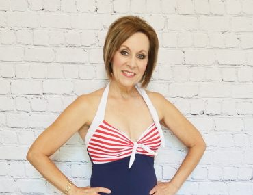Over 50 Swimsuit, Red White and Blue Swimsuit, Nautical Swimsuit, Swimdress, Halter Swimsuit, Flattering Mature Swimwear