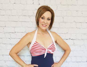 Over 50 Swimsuit, Red White and Blue Swimsuit, Nautical Swimsuit, Swimdress, Halter Swimsuit, Flattering Mature Swimwear