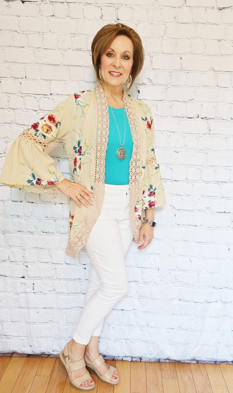 Over 50 Fashion, 50 With Flair, Beige Floral Kimono, Teal T-shirt, Magnifier Pendant, White Jeans, Fitbit Charge 2