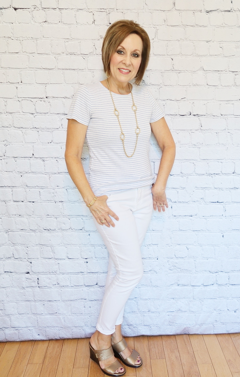 50 With Flair, Old Navy Jeans, White with Blue Pinstripe T-shirt, Gold Wedge Sandals and Jewelry
