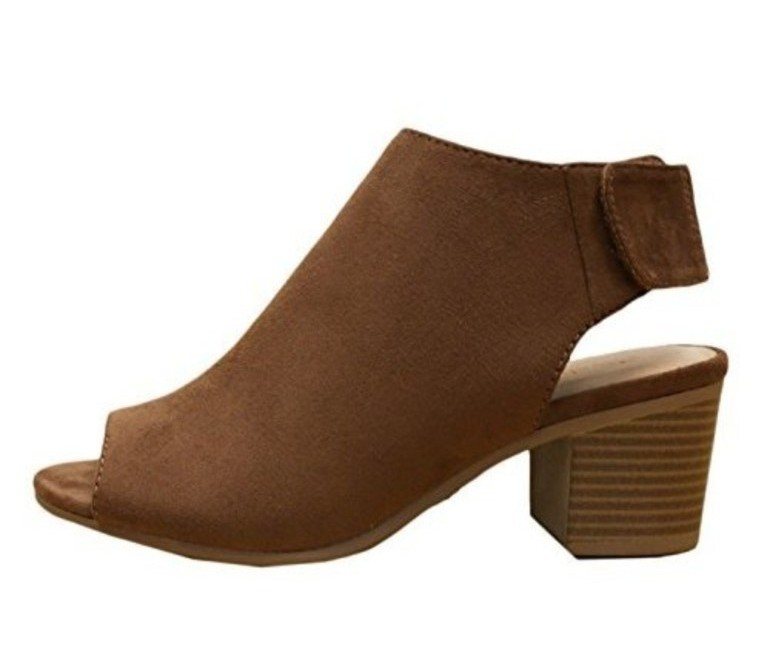 50 With Flair, Brown Suede Sandal Bootie, City Classified, Amazon