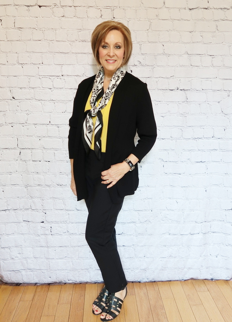 50 With Flair, Mustard Blouse with Tailored Black Pants, Black and White Scarf, Black Cardigan