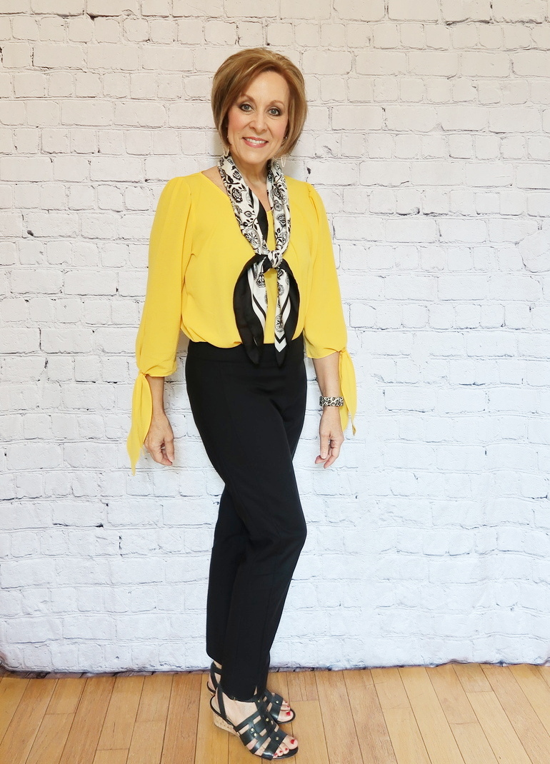 50 With Flair, Mustard Blouse with Tailored Black Pants, Black and White Scarf