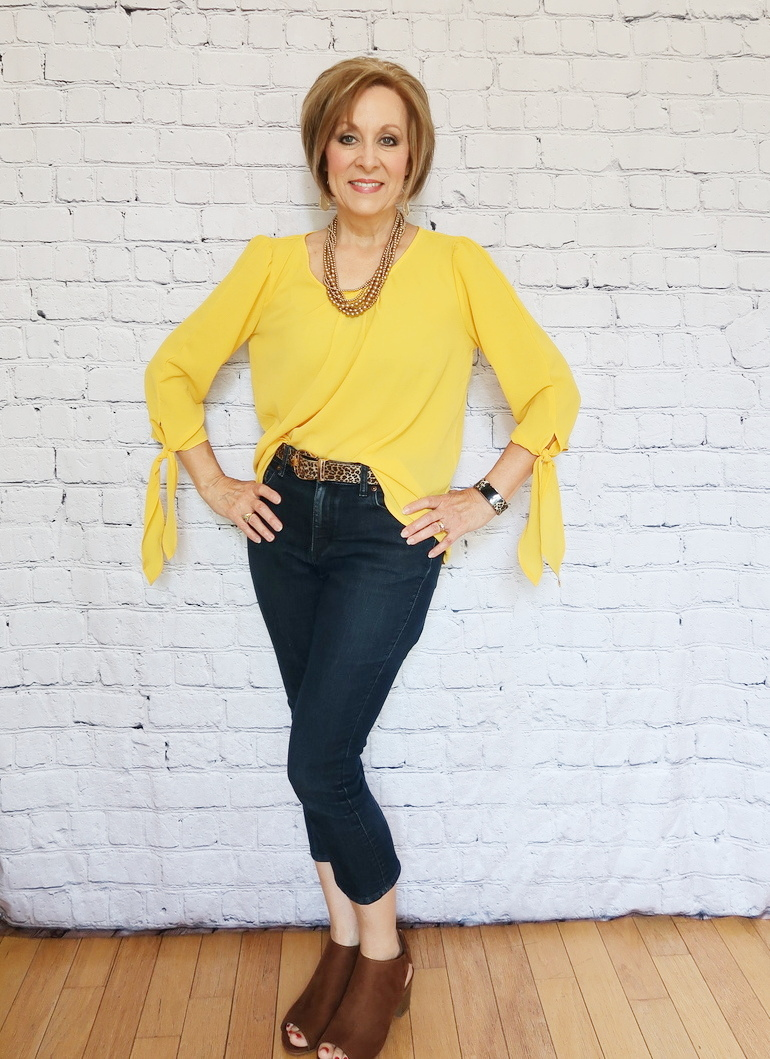 Over 50 Fashion, Fifty With Flair, Mustard Blouse, Cheetah accessories, suede bootie square heel sandal