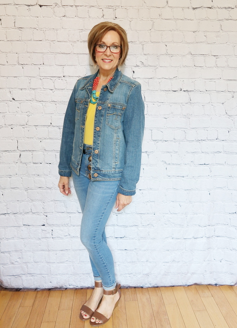 50 With Flair, Mustard Yellow Blouse, Light Denim Jeans, Denim Jacket, Wedge Sandals, Southwestern Accessories, Reading Glasses