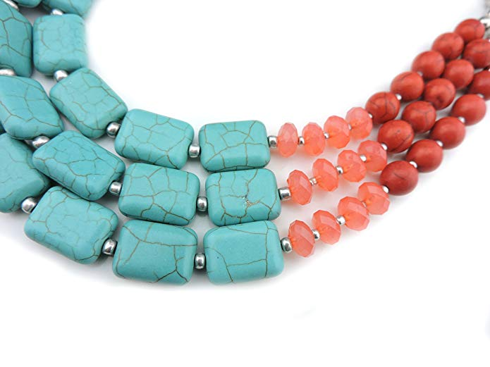 50 With Flair, Mustard Yellow Blouse, Southwestern Coral Turquoise Statement Necklace
