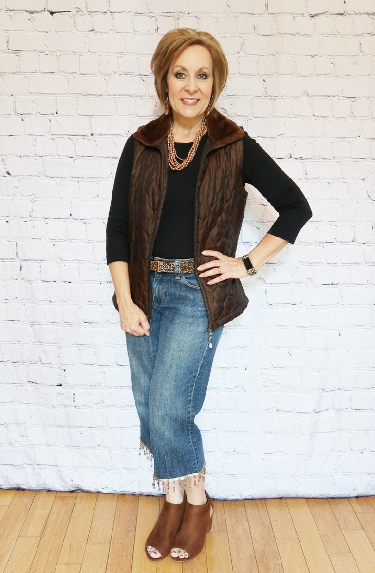 Upcycle, 50 With Flair, Over 50 Fashion, Quilted Vest, Embellished Jeans, Beaded Fringe Jeans, DIY Jeans Project