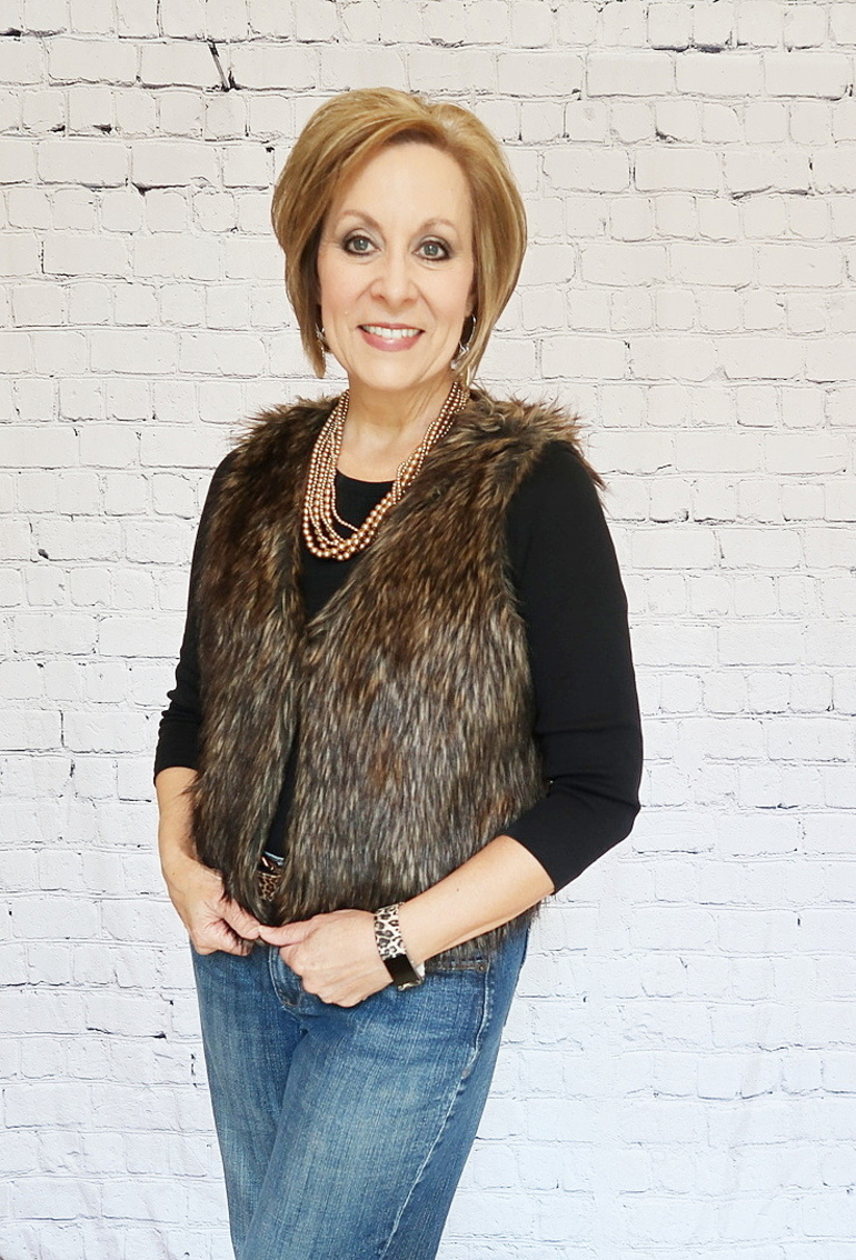 Upcycle, 50 With Flair, Over 50 Fashion, Fur Vest, Embellished Jeans, Beaded Fringe Jeans, DIY Jeans Project