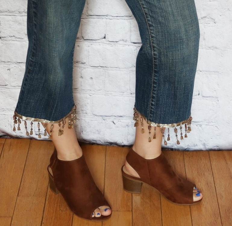 Upcycle, 50 With Flair, Over 50 Fashion, Embellished Jeans, Beaded Fringe Jeans, DIY Jeans Project