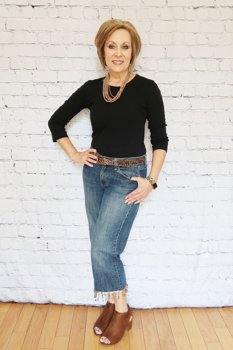 50 With Flair, Over 50 Fashion, Embellished Jeans, Beaded Fringe Jeans, DIY Jeans Project