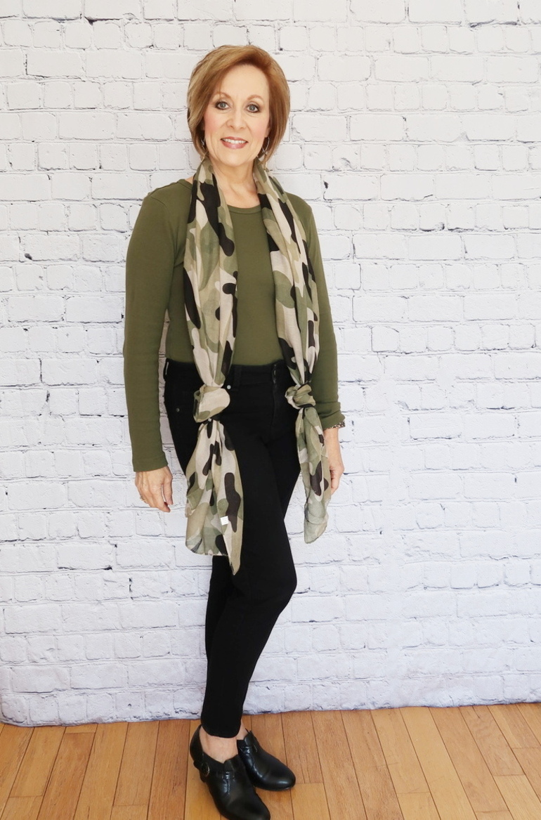 50 With Flair, Over 50 Fashion, Olive Camo, Black Old Navy Jeans, Black Ankle Boot, Olive Wedges, Olive Camo Scarf, Camo Chic, Gold drop earrings, Amazon