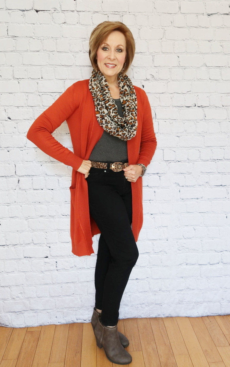 Pumpkin Cardigan Duster, Gray Ankle Boot, Animal Print, Charcoal Top, Old Navy Black Jeans, Over 50 Fashion, 50 With Flair