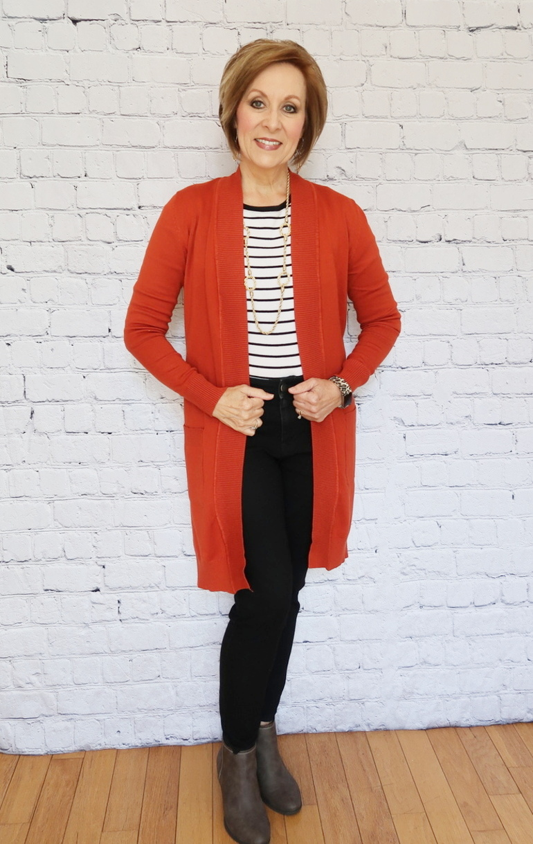 Pumpkin Cardigan Duster, Gray Ankle Boot, Striped Top, Old Navy Black Jeans, Over 50 Fashion, 50 With Flair
