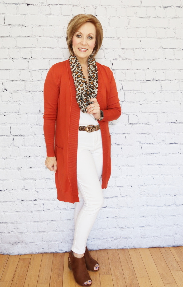 Pumpkin Cardigan Duster, Brown Suede Bootie Sandal, Infinity Scarf, White Top, Old Navy White Jeans, Animal Print Accessories, Fitbit, Over 50 Fashion, 50 With Flair