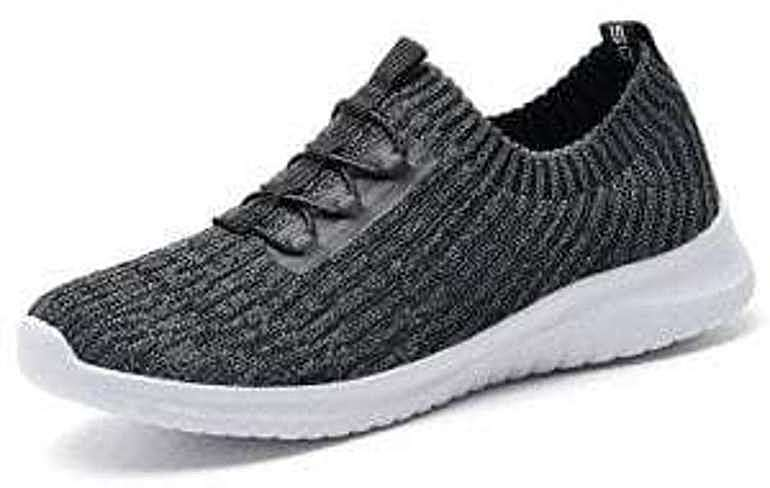 Gray sneaker, KONHILL Women's Lightweight Athletic Running Shoes Walking Casual Sports Knit Workout Sneakers, Amazon