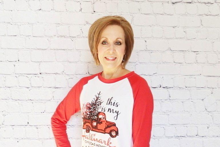 Hallmark t-shirt, Hallmark mug, Hallmark movies, christmas t-shirt, 50 With Flair, Fashion Over 50, Christmas gifts, Fitbit bands