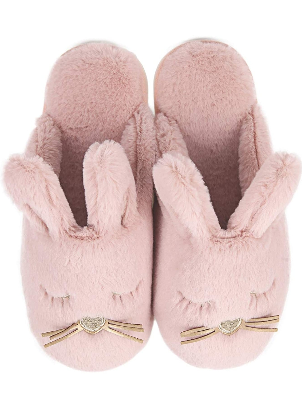 bunny slippers, fuzzy slippers, memory foam slippers